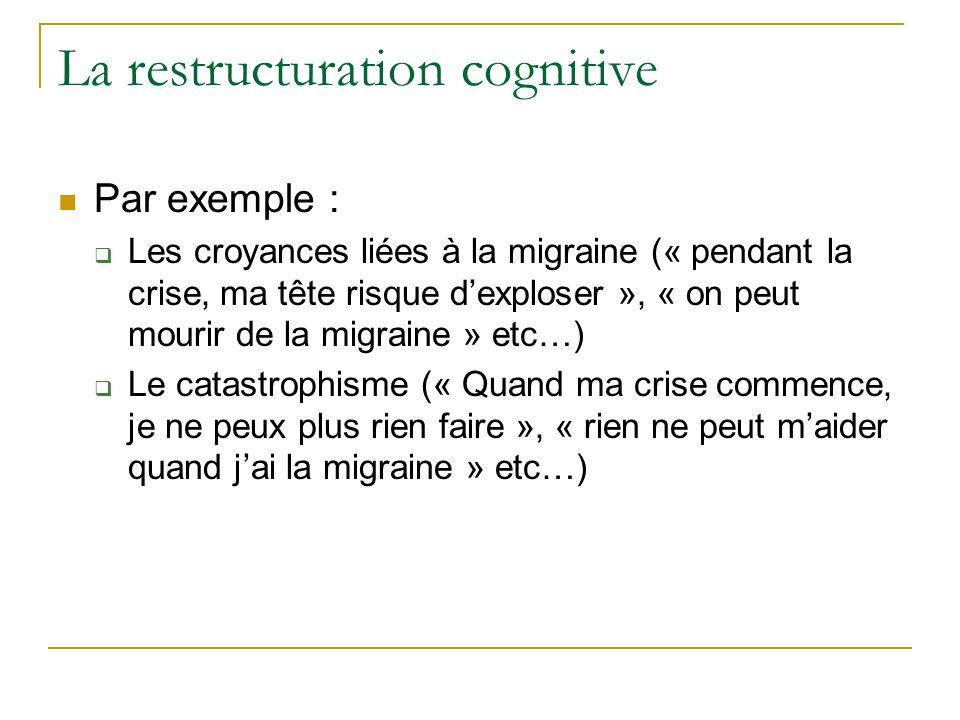 La restructuration cognitive Par exemple : Les croyances liées à la migraine (« pendant la crise, ma tête risque dexploser », « on peut mourir de la m