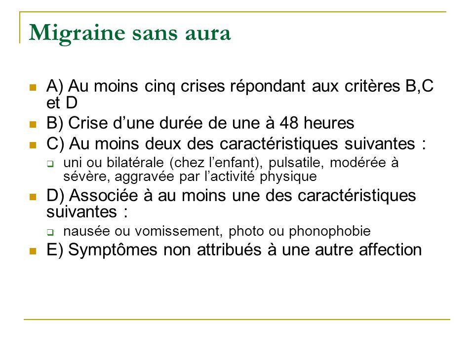 Migraine sans aura A) Au moins cinq crises répondant aux critères B,C et D B) Crise dune durée de une à 48 heures C) Au moins deux des caractéristique