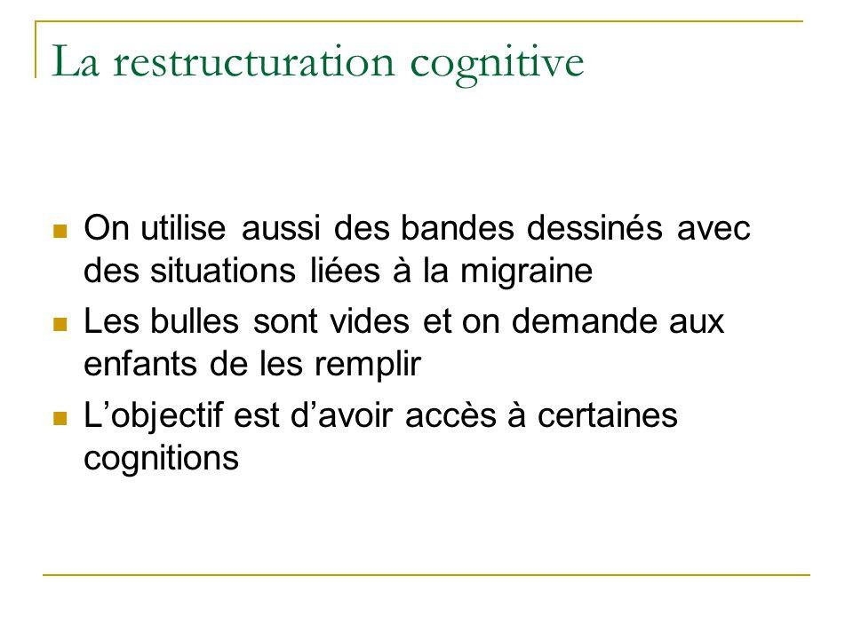 La restructuration cognitive On utilise aussi des bandes dessinés avec des situations liées à la migraine Les bulles sont vides et on demande aux enfa