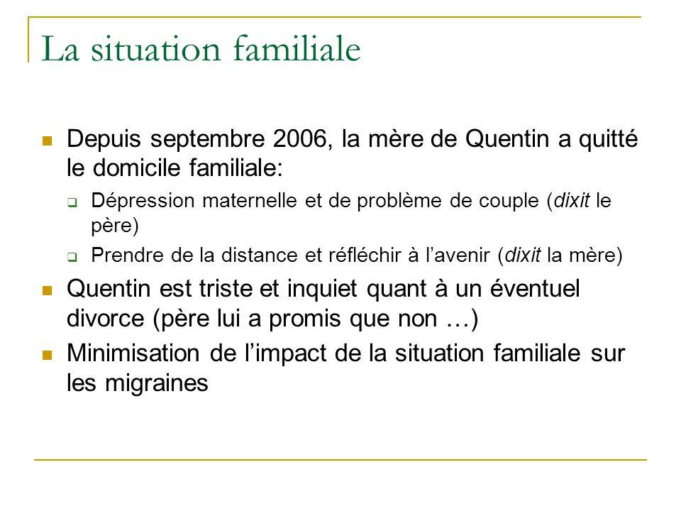 La situation familiale Depuis septembre 2006, la mère de Quentin a quitté le domicile familiale: Dépression maternelle et de problème de couple (dixit