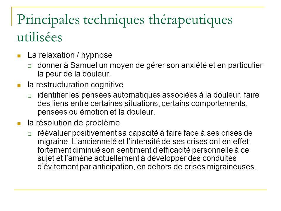 Principales techniques thérapeutiques utilisées La relaxation / hypnose donner à Samuel un moyen de gérer son anxiété et en particulier la peur de la