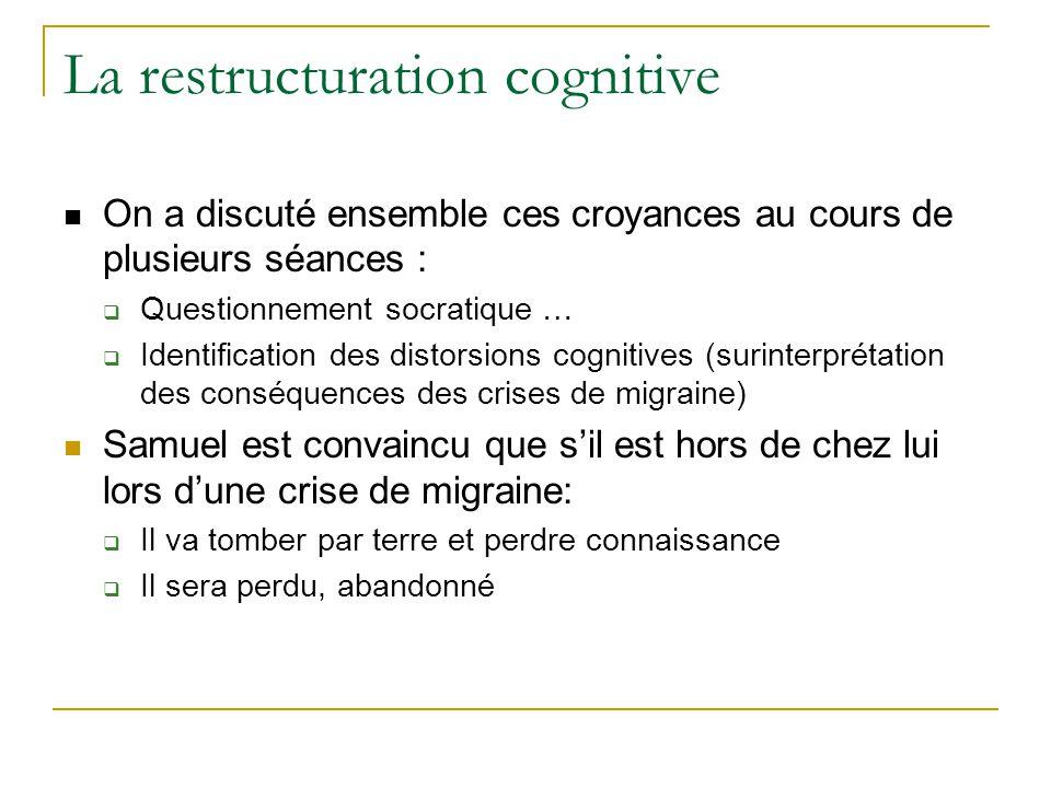 La restructuration cognitive On a discuté ensemble ces croyances au cours de plusieurs séances : Questionnement socratique … Identification des distor