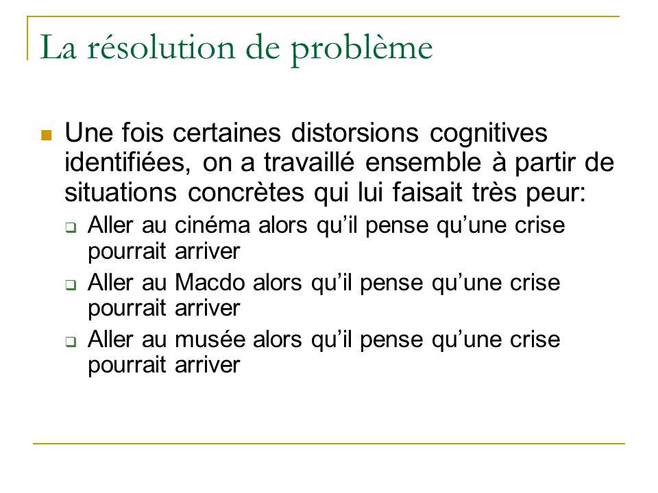 La résolution de problème Une fois certaines distorsions cognitives identifiées, on a travaillé ensemble à partir de situations concrètes qui lui fais