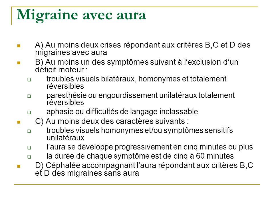 Migraine avec aura A) Au moins deux crises répondant aux critères B,C et D des migraines avec aura B) Au moins un des symptômes suivant à lexclusion d