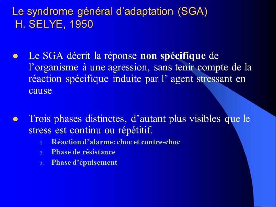 Le syndrome général dadaptation (SGA) H. SELYE, 1950 Le SGA décrit la réponse non spécifique de lorganisme à une agression, sans tenir compte de la ré
