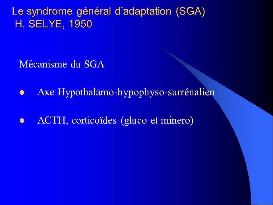 Le syndrome général dadaptation (SGA) H. SELYE, 1950 Mécanisme du SGA Axe Hypothalamo-hypophyso-surrénalien ACTH, corticoïdes (gluco et minero)
