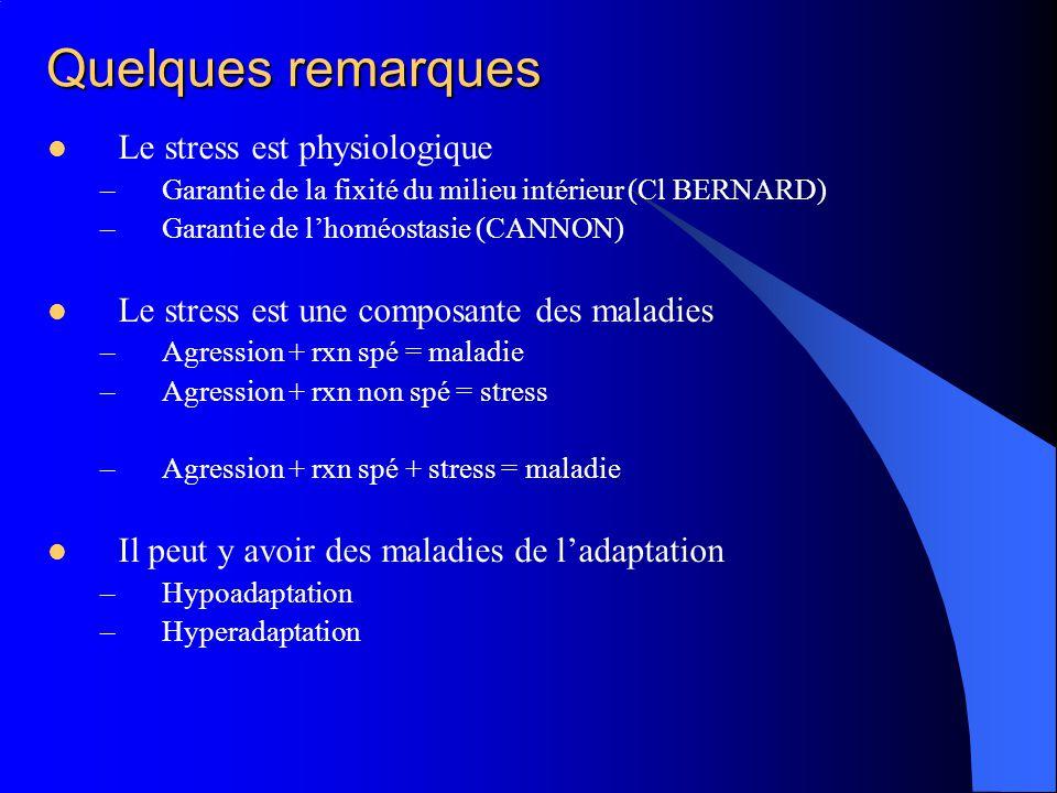 Quelques remarques Le stress est physiologique –Garantie de la fixité du milieu intérieur (Cl BERNARD) –Garantie de lhoméostasie (CANNON) Le stress es