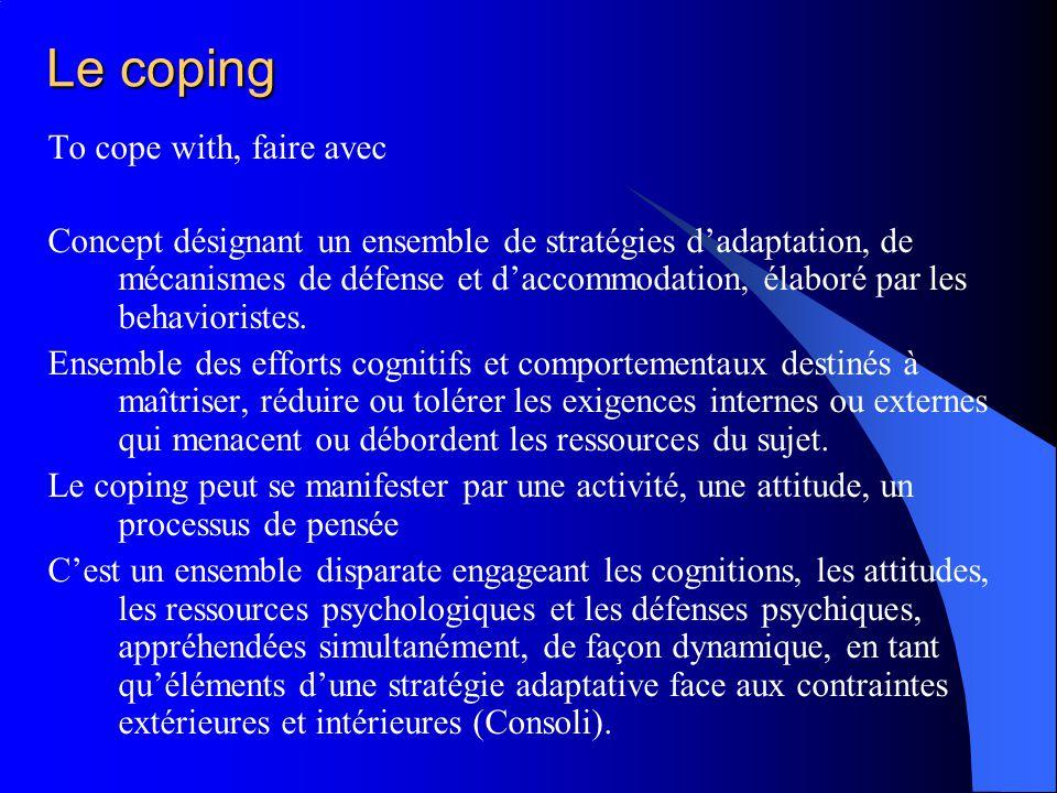 Le coping To cope with, faire avec Concept désignant un ensemble de stratégies dadaptation, de mécanismes de défense et daccommodation, élaboré par le