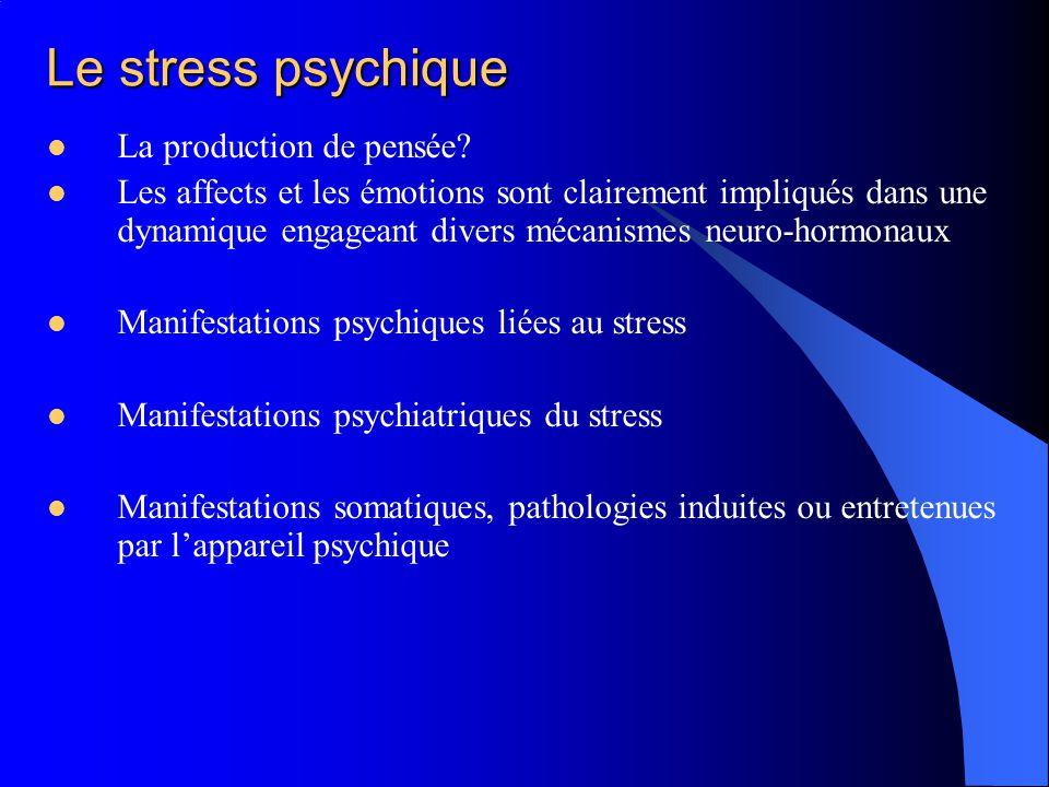 Le stress psychique La production de pensée? Les affects et les émotions sont clairement impliqués dans une dynamique engageant divers mécanismes neur