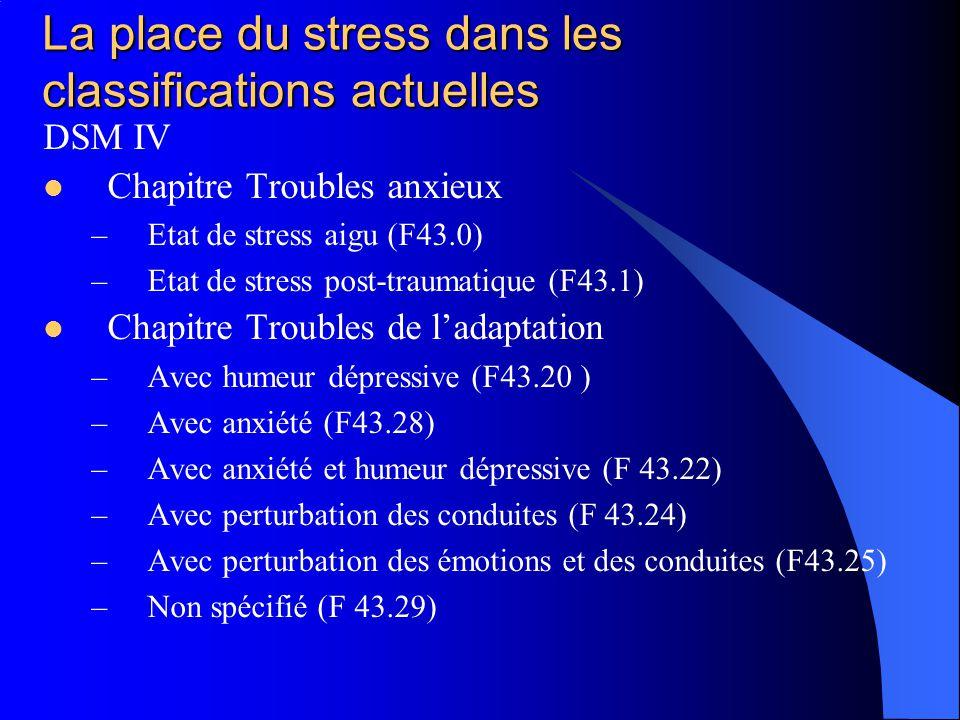 La place du stress dans les classifications actuelles DSM IV Chapitre Troubles anxieux –Etat de stress aigu (F43.0) –Etat de stress post-traumatique (