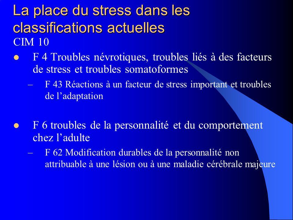 La place du stress dans les classifications actuelles CIM 10 F 4 Troubles névrotiques, troubles liés à des facteurs de stress et troubles somatoformes