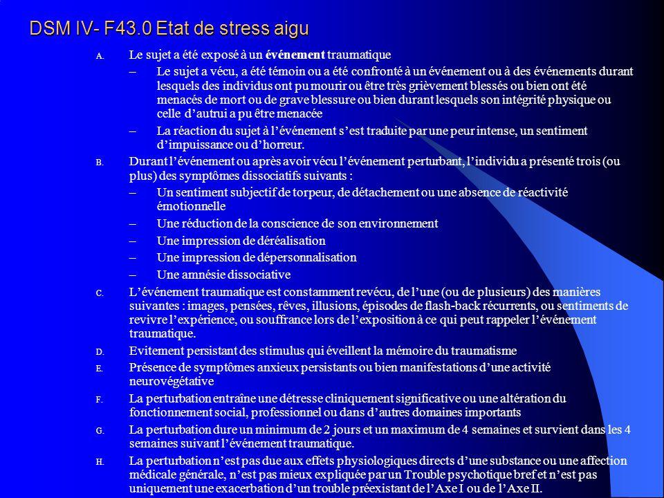 DSM IV- F43.0 Etat de stress aigu A. Le sujet a été exposé à un événement traumatique –Le sujet a vécu, a été témoin ou a été confronté à un événement