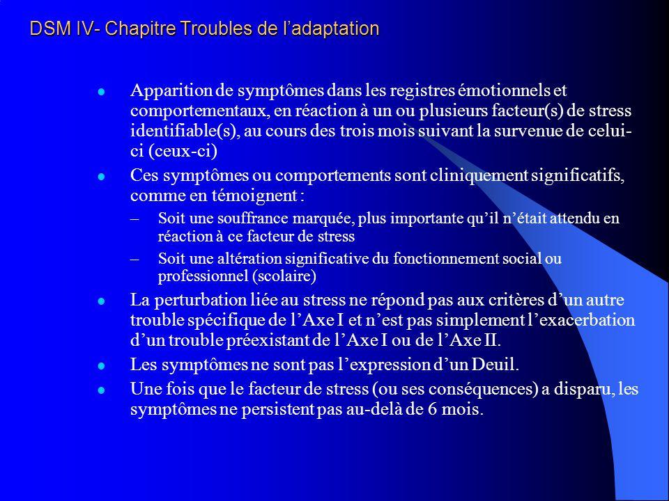 DSM IV- Chapitre Troubles de ladaptation Apparition de symptômes dans les registres émotionnels et comportementaux, en réaction à un ou plusieurs fact