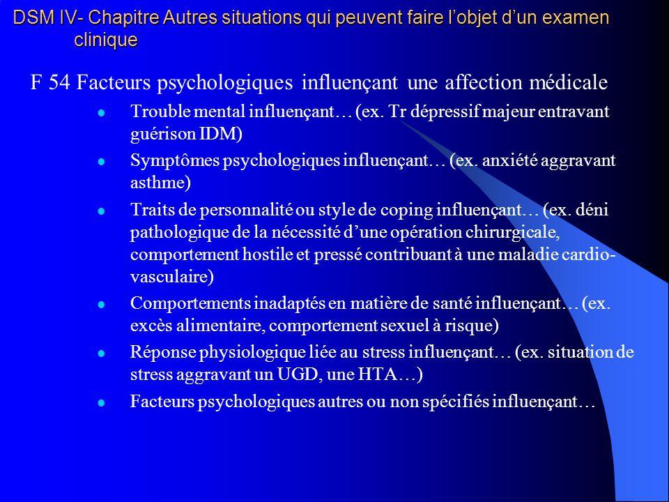 DSM IV- Chapitre Autres situations qui peuvent faire lobjet dun examen clinique F 54 Facteurs psychologiques influençant une affection médicale Troubl