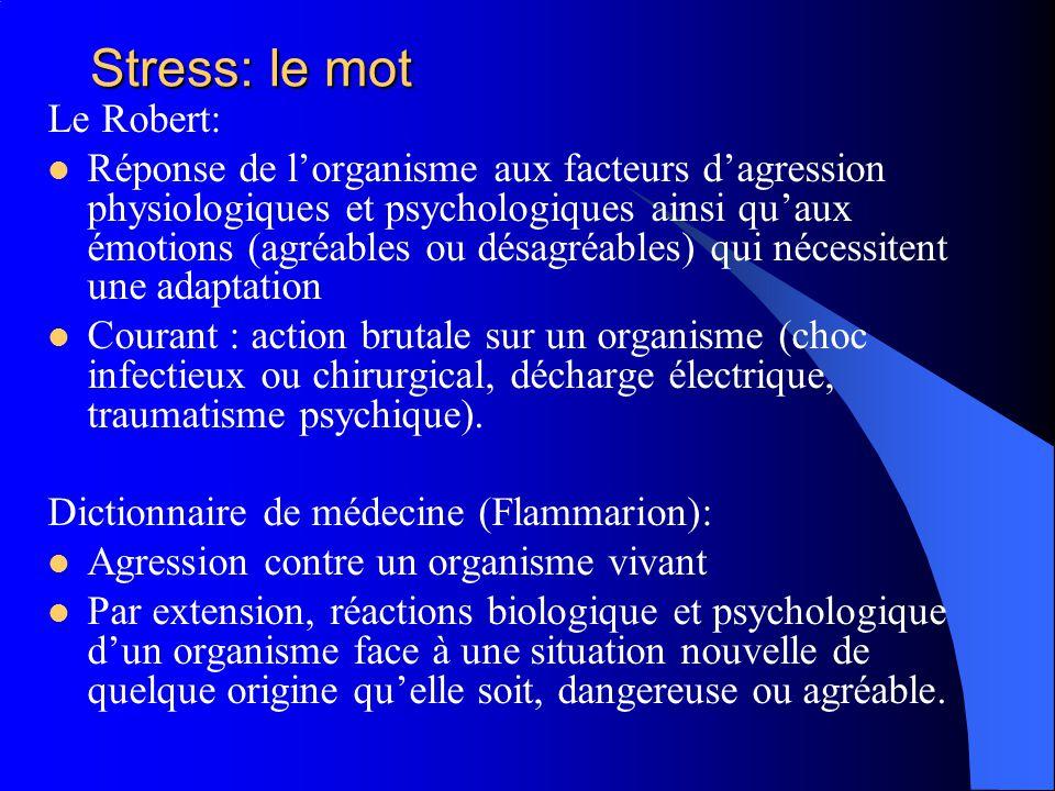 Stress: le mot Le Robert: Réponse de lorganisme aux facteurs dagression physiologiques et psychologiques ainsi quaux émotions (agréables ou désagréabl