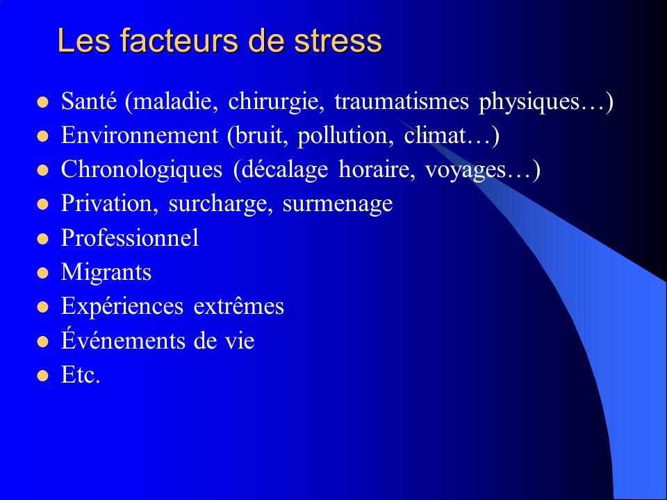 Les facteurs de stress Santé (maladie, chirurgie, traumatismes physiques…) Environnement (bruit, pollution, climat…) Chronologiques (décalage horaire,