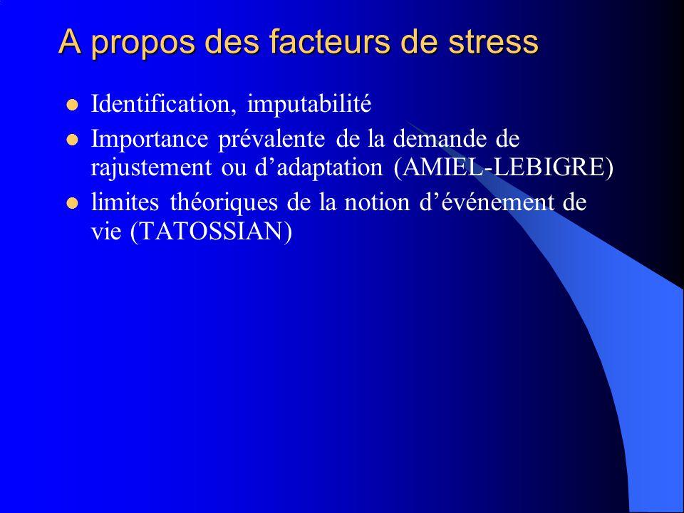 A propos des facteurs de stress Identification, imputabilité Importance prévalente de la demande de rajustement ou dadaptation (AMIEL-LEBIGRE) limites