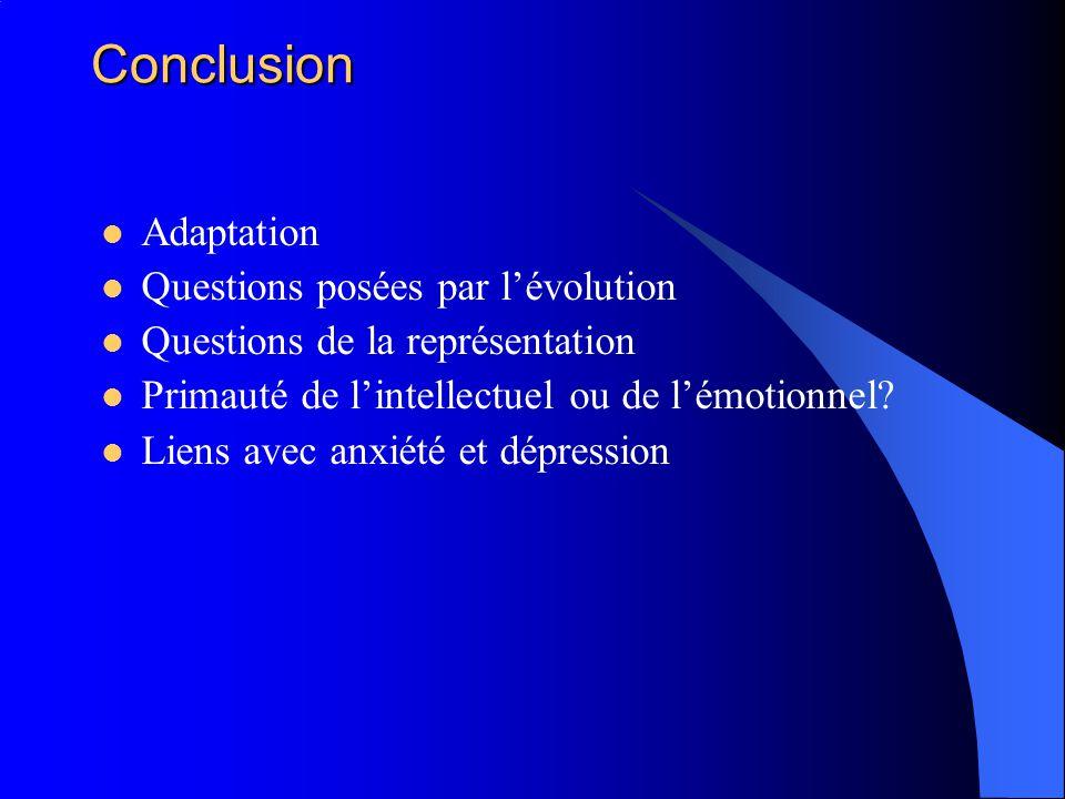 Conclusion Adaptation Questions posées par lévolution Questions de la représentation Primauté de lintellectuel ou de lémotionnel? Liens avec anxiété e