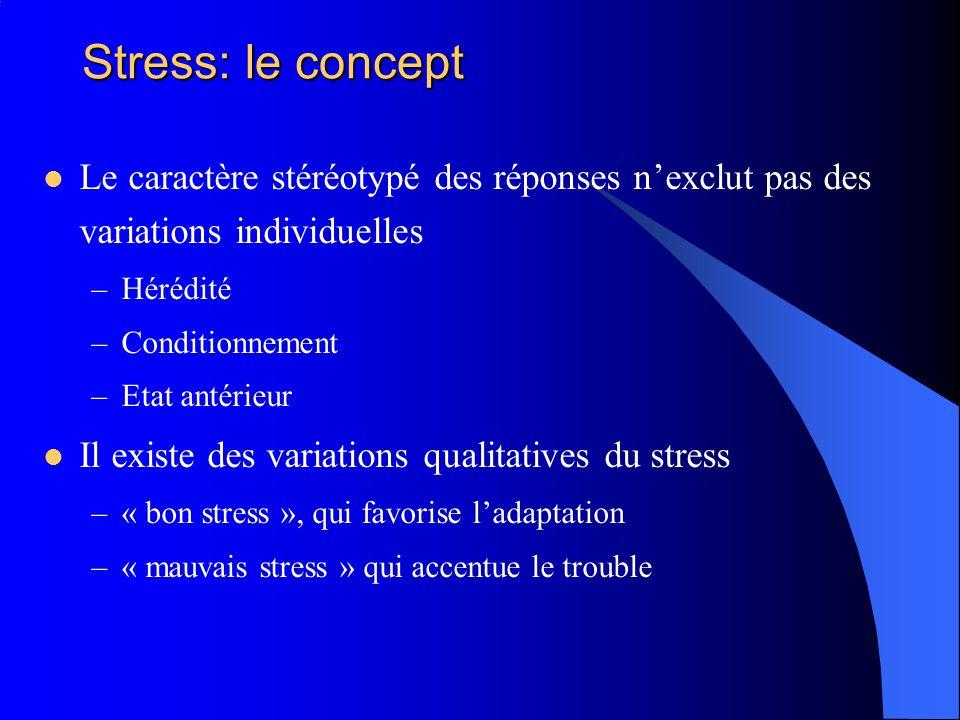 Stress: le concept Le caractère stéréotypé des réponses nexclut pas des variations individuelles –Hérédité –Conditionnement –Etat antérieur Il existe