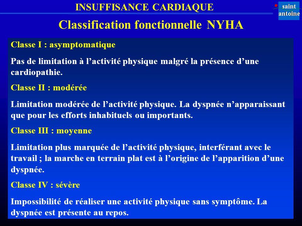 INSUFFISANCE CARDIAQUE Classe I : asymptomatique Pas de limitation à lactivité physique malgré la présence dune cardiopathie.