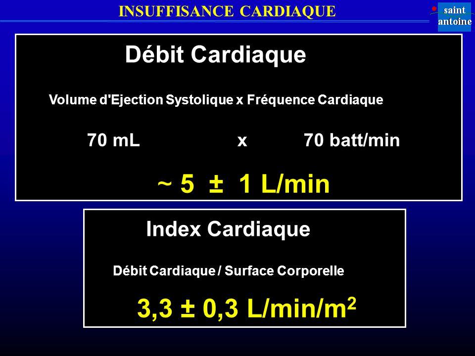 INSUFFISANCE CARDIAQUE Débit Cardiaque Volume d Ejection Systolique x Fréquence Cardiaque 70 mL x 70 batt/min ~ 5 ± 1 L/min Index Cardiaque Débit Cardiaque / Surface Corporelle 3,3 ± 0,3 L/min/m 2