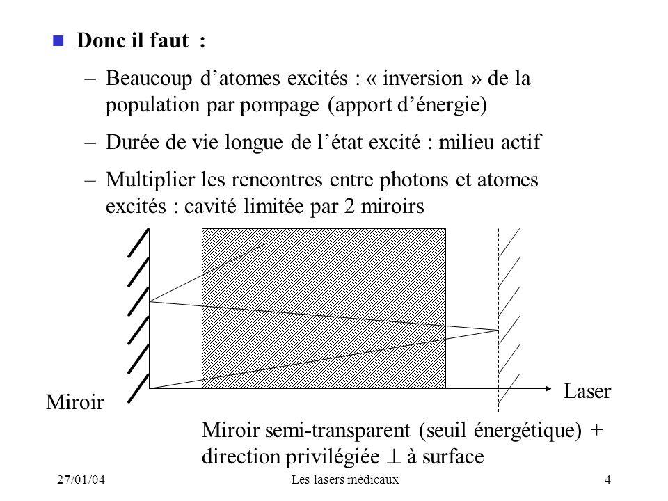 27/01/04Les lasers médicaux4 Donc il faut : –Beaucoup datomes excités : « inversion » de la population par pompage (apport dénergie) –Durée de vie lon