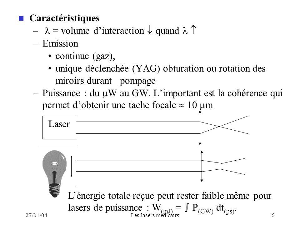 27/01/04Les lasers médicaux6 Caractéristiques – = volume dinteraction quand –Emission continue (gaz), unique déclenchée (YAG) obturation ou rotation d