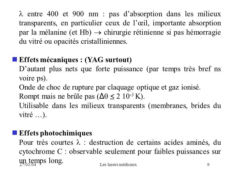 27/01/04Les lasers médicaux10 Dangers Surtout énergie thermique : brûlures cutanées et lésions oculaires (surtout si non visible).