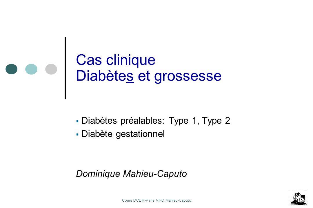 Cours DCEM-Paris VII-D.Mahieu-Caputo Cas clinique Diabètes et grossesse Diabètes préalables: Type 1, Type 2 Diabète gestationnel Dominique Mahieu-Capu