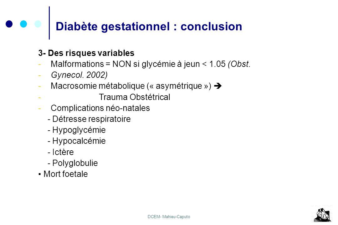 DCEM- Mahieu-Caputo 3- Des risques variables -Malformations = NON si glycémie à jeun < 1.05 (Obst. -Gynecol. 2002) -Macrosomie métabolique (« asymétri