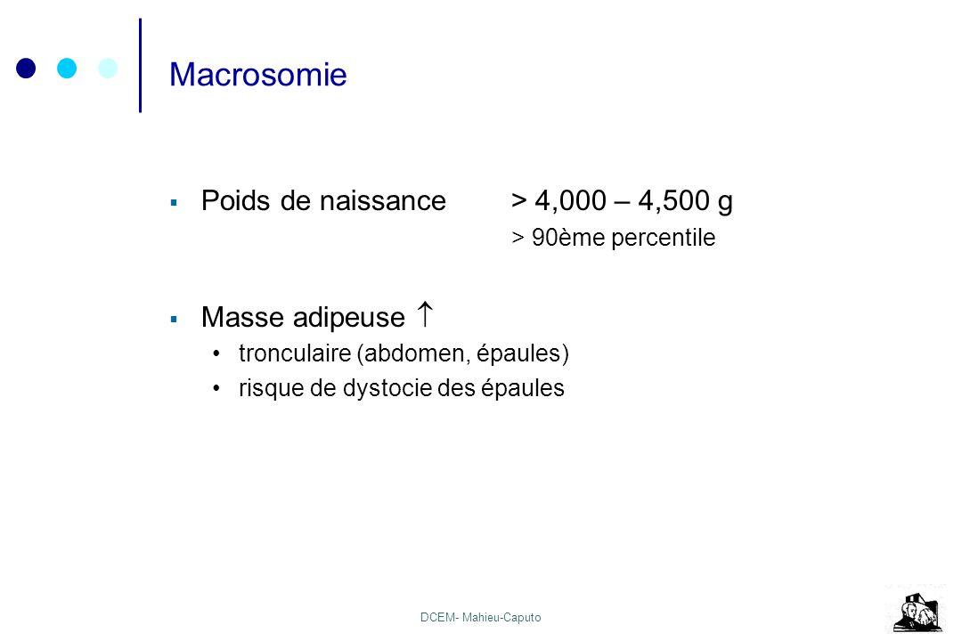 DCEM- Mahieu-Caputo Macrosomie Poids de naissance> 4,000 – 4,500 g > 90ème percentile Masse adipeuse tronculaire (abdomen, épaules) risque de dystocie