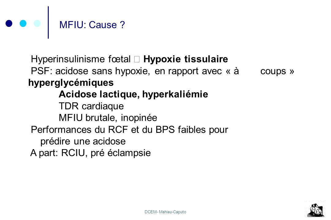 DCEM- Mahieu-Caputo MFIU: Cause ? Hyperinsulinisme fœtal Hypoxie tissulaire PSF: acidose sans hypoxie, en rapport avec « à coups » hyperglycémiques Ac