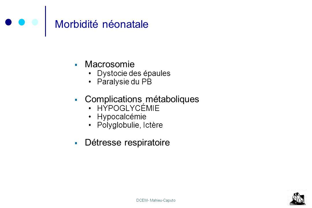 DCEM- Mahieu-Caputo Morbidité néonatale Macrosomie Dystocie des épaules Paralysie du PB Complications métaboliques HYPOGLYCÉMIE Hypocalcémie Polyglobu