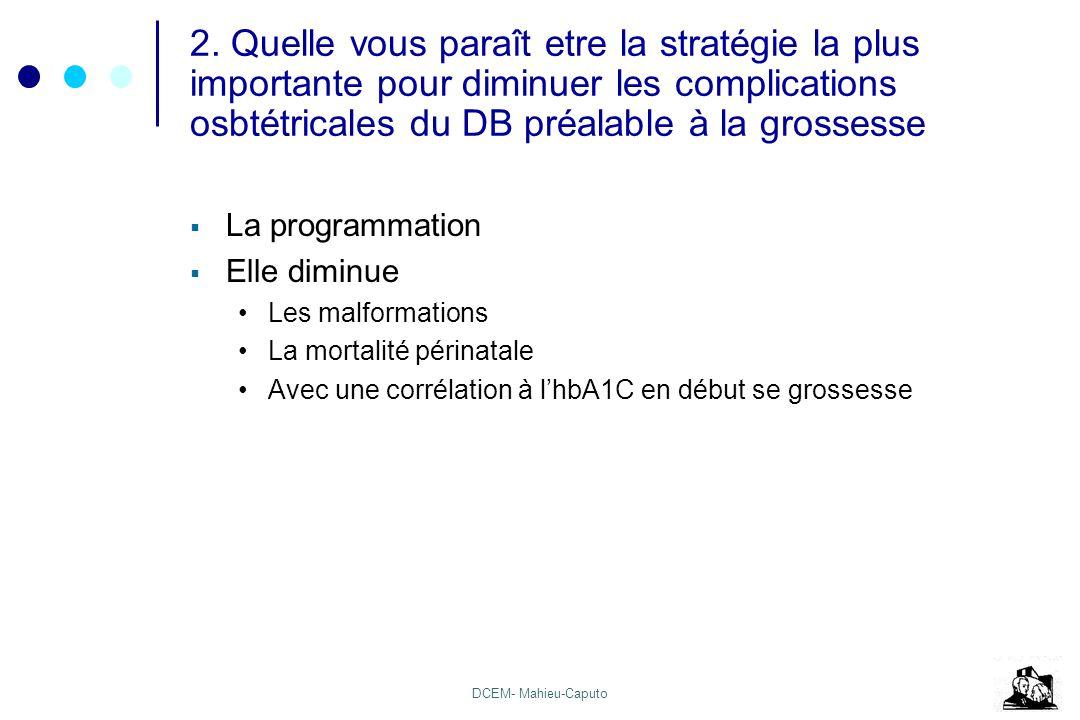 DCEM- Mahieu-Caputo 2. Quelle vous paraît etre la stratégie la plus importante pour diminuer les complications osbtétricales du DB préalable à la gros