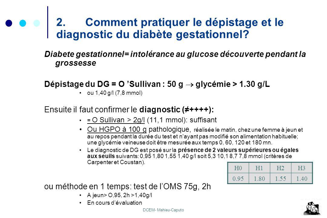 DCEM- Mahieu-Caputo 2.Comment pratiquer le dépistage et le diagnostic du diabète gestationnel? Diabete gestationnel= intolérance au glucose découverte