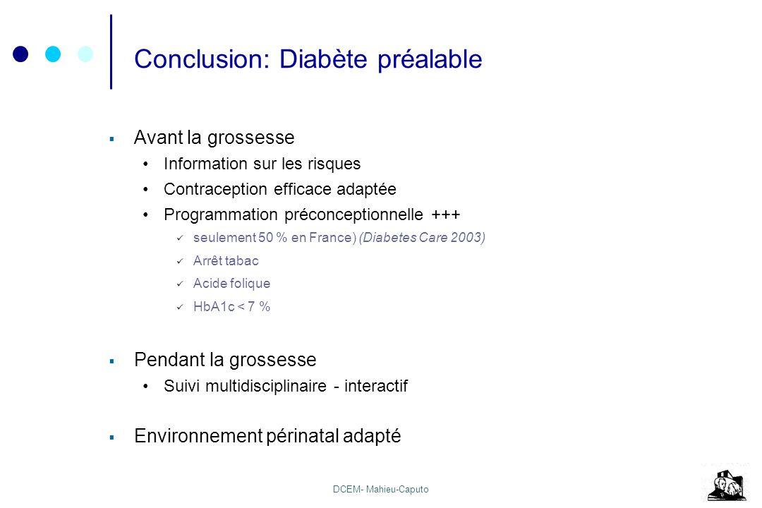 DCEM- Mahieu-Caputo Conclusion: Diabète préalable Avant la grossesse Information sur les risques Contraception efficace adaptée Programmation préconce