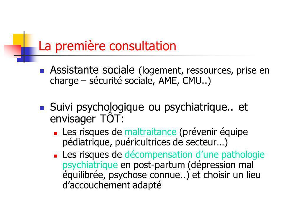La première consultation Assistante sociale (logement, ressources, prise en charge – sécurité sociale, AME, CMU..) Suivi psychologique ou psychiatrique..