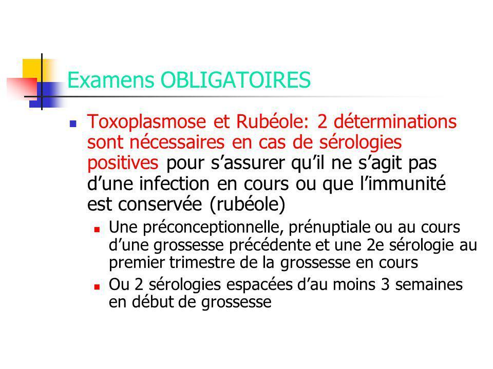 Examens OBLIGATOIRES Toxoplasmose et Rubéole: 2 déterminations sont nécessaires en cas de sérologies positives pour sassurer quil ne sagit pas dune infection en cours ou que limmunité est conservée (rubéole) Une préconceptionnelle, prénuptiale ou au cours dune grossesse précédente et une 2e sérologie au premier trimestre de la grossesse en cours Ou 2 sérologies espacées dau moins 3 semaines en début de grossesse