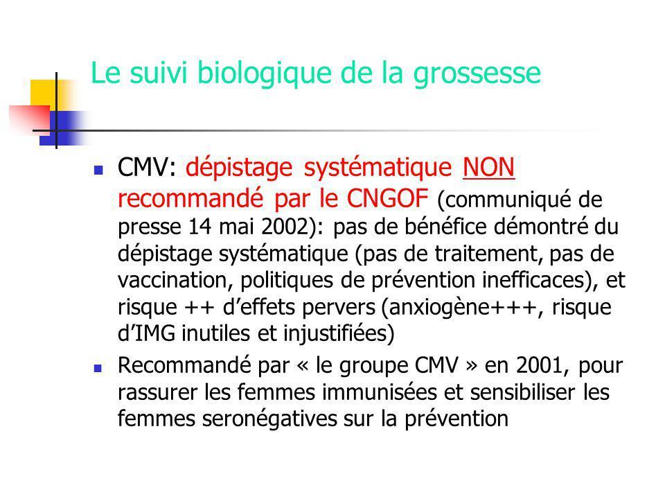 Le suivi biologique de la grossesse CMV: dépistage systématique NON recommandé par le CNGOF (communiqué de presse 14 mai 2002): pas de bénéfice démontré du dépistage systématique (pas de traitement, pas de vaccination, politiques de prévention inefficaces), et risque ++ deffets pervers (anxiogène+++, risque dIMG inutiles et injustifiées) Recommandé par « le groupe CMV » en 2001, pour rassurer les femmes immunisées et sensibiliser les femmes seronégatives sur la prévention