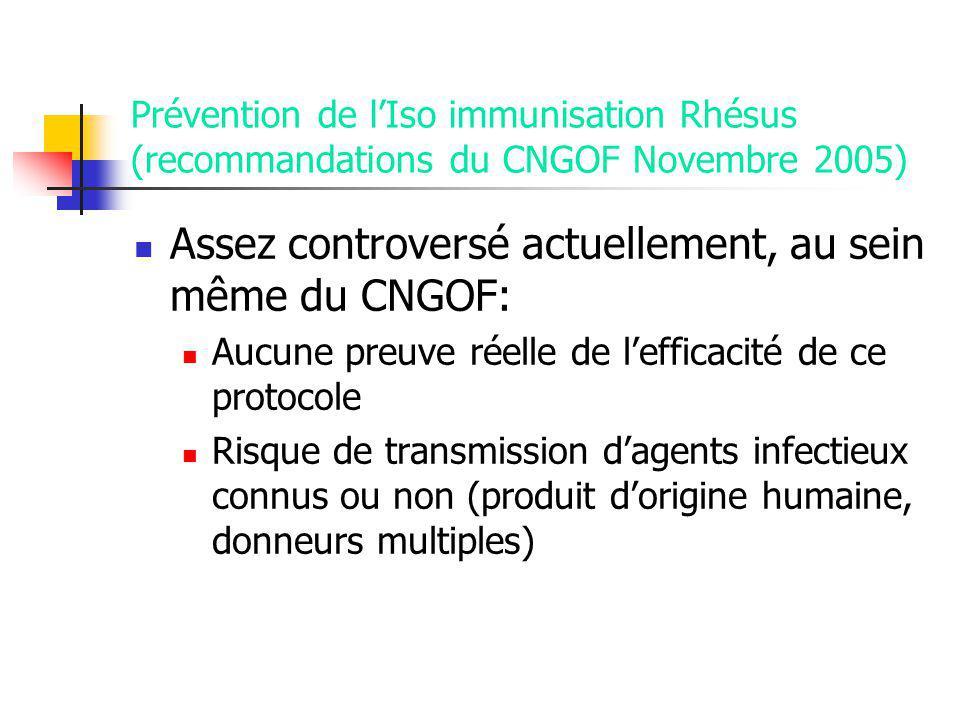 Prévention de lIso immunisation Rhésus (recommandations du CNGOF Novembre 2005) Assez controversé actuellement, au sein même du CNGOF: Aucune preuve réelle de lefficacité de ce protocole Risque de transmission dagents infectieux connus ou non (produit dorigine humaine, donneurs multiples)