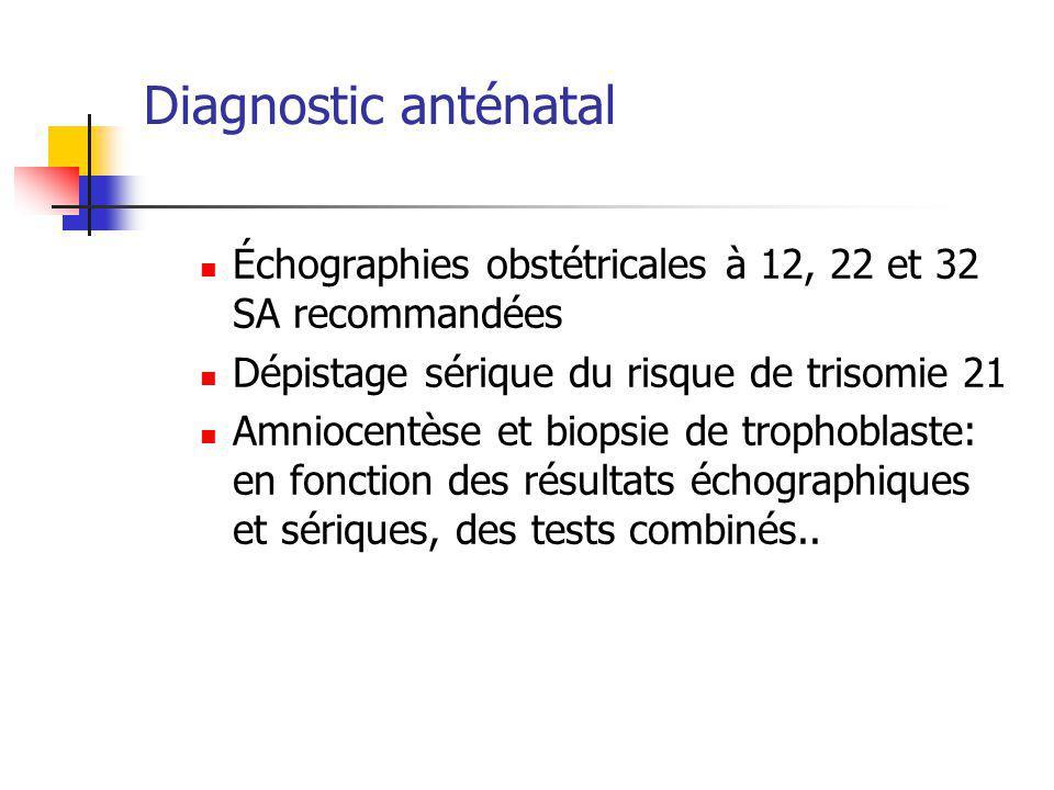 Diagnostic anténatal Échographies obstétricales à 12, 22 et 32 SA recommandées Dépistage sérique du risque de trisomie 21 Amniocentèse et biopsie de trophoblaste: en fonction des résultats échographiques et sériques, des tests combinés..