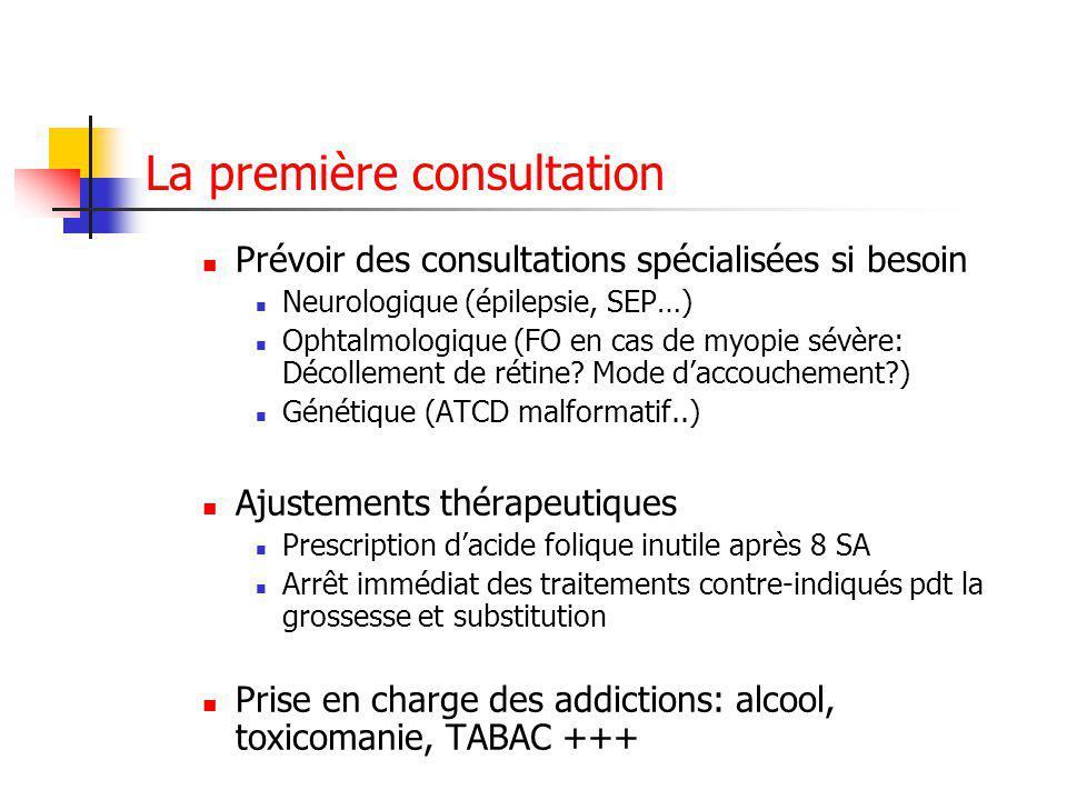 La première consultation Prévoir des consultations spécialisées si besoin Neurologique (épilepsie, SEP…) Ophtalmologique (FO en cas de myopie sévère: Décollement de rétine.