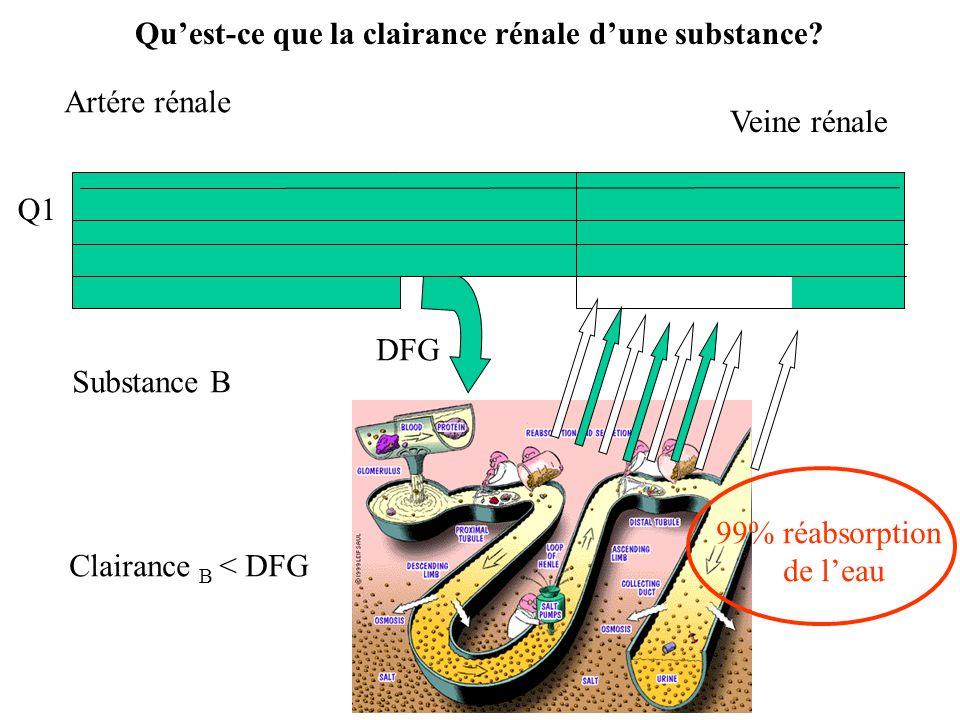 Q Artére rénale 99% réabsorption de leau Veine rénale DFG Substance B Clairance B < DFG Quest-ce que la clairance rénale dune substance?