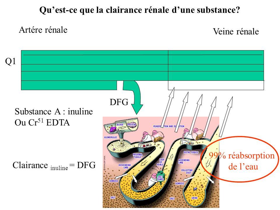 Q1 Q Quest-ce que la clairance rénale dune substance.