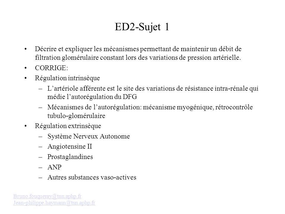 ED2-Sujet 1 Décrire et expliquer les mécanismes permettant de maintenir un débit de filtration glomérulaire constant lors des variations de pression artérielle.