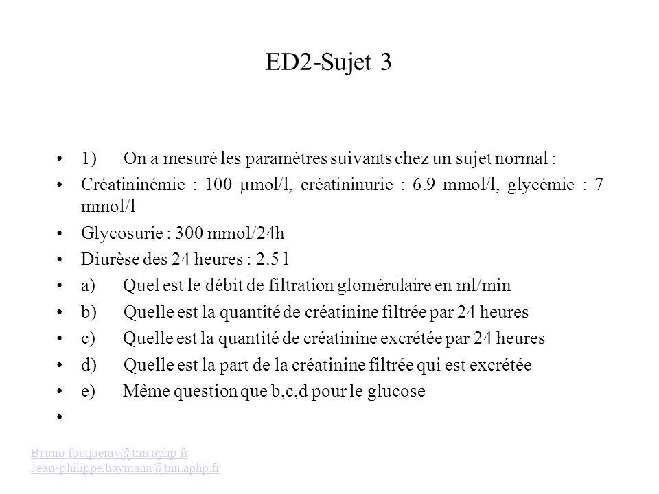 ED2-Sujet 3 1) On a mesuré les paramètres suivants chez un sujet normal : Créatininémie : 100 µmol/l, créatininurie : 6.9 mmol/l, glycémie : 7 mmol/l Glycosurie : 300 mmol/24h Diurèse des 24 heures : 2.5 l a) Quel est le débit de filtration glomérulaire en ml/min b) Quelle est la quantité de créatinine filtrée par 24 heures c) Quelle est la quantité de créatinine excrétée par 24 heures d) Quelle est la part de la créatinine filtrée qui est excrétée e) Même question que b,c,d pour le glucose Bruno.fouqueray@tnn.aphp.fr Jean-philippe.haymann@tnn.aphp.fr