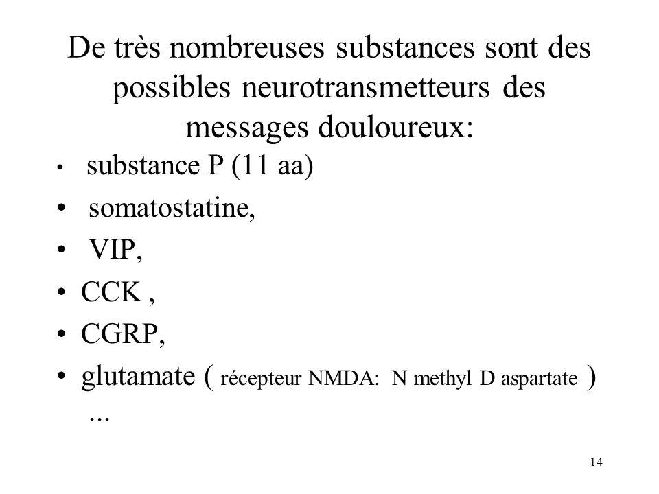 14 De très nombreuses substances sont des possibles neurotransmetteurs des messages douloureux: substance P (11 aa) somatostatine, VIP, CCK, CGRP, glu