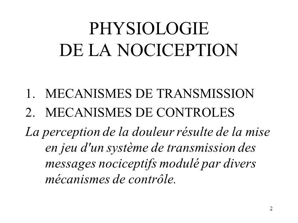 2 PHYSIOLOGIE DE LA NOCICEPTION 1.MECANISMES DE TRANSMISSION 2.MECANISMES DE CONTROLES La perception de la douleur résulte de la mise en jeu d'un syst