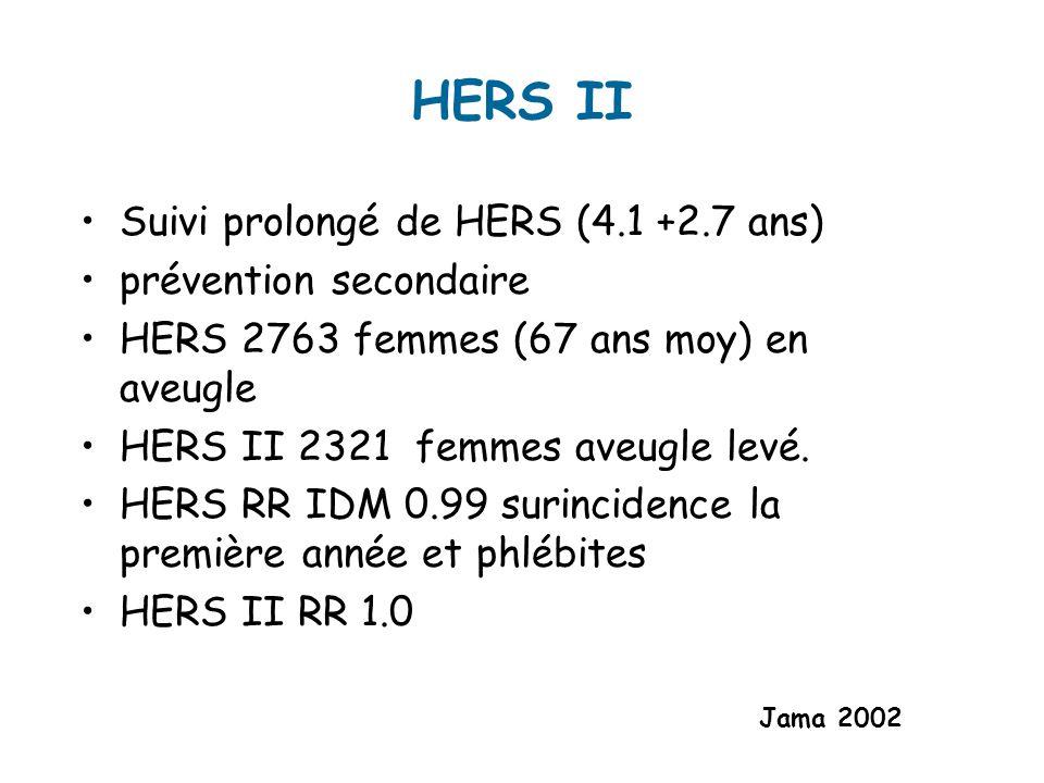 HERS II Suivi prolongé de HERS (4.1 +2.7 ans) prévention secondaire HERS 2763 femmes (67 ans moy) en aveugle HERS II 2321 femmes aveugle levé.