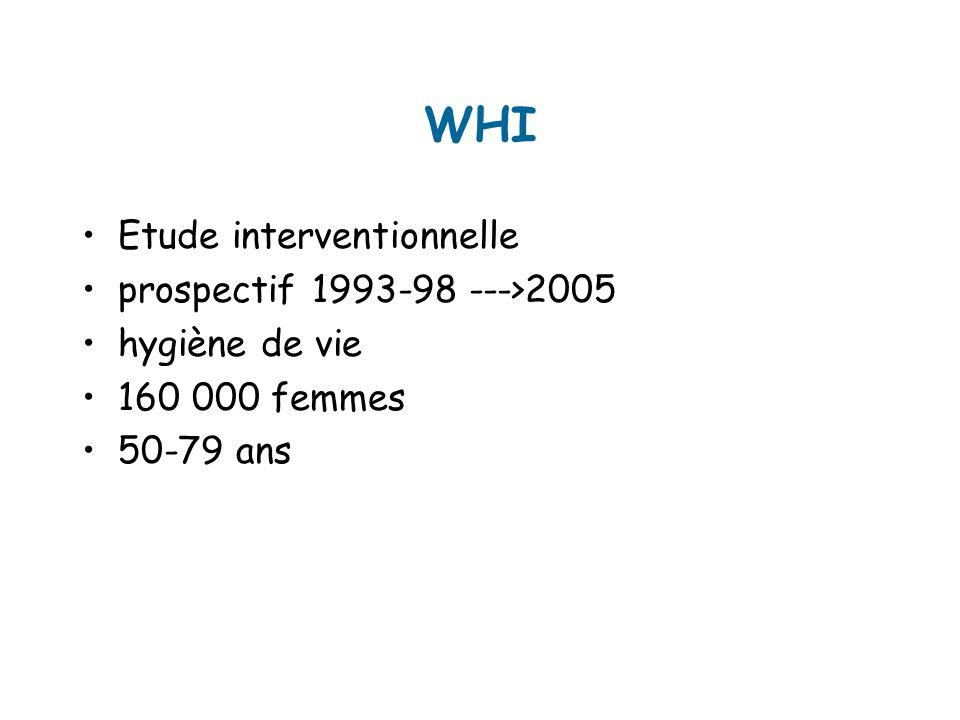 WHI Etude interventionnelle prospectif 1993-98 --->2005 hygiène de vie 160 000 femmes 50-79 ans